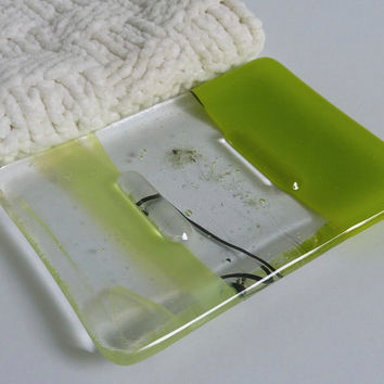 Fused Glass Soap Dish in Spring Green and Clear