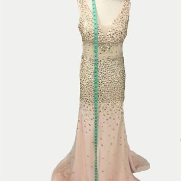2017 Sexy Side Slit Champagne Mermaid Evening Dress Spaghetti Straps Deep V-Neck Formal Party Gown Custom Made Vestido De Fiesta