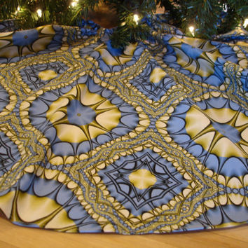 Blue Christmas Tree Skirt Kaleidoscope by KaysGeneralStore on Etsy