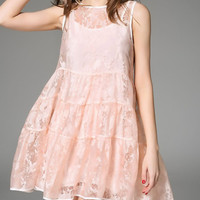 Pink Sleeveless Cotton Mini Trapeze Dress | VIPme
