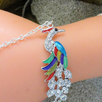 Slave Bracelet, Peacock Hand Chain, Hand Harness, Infinity Ring, Ring Bracelet,Hand Jewelry, Colorful, Sexy