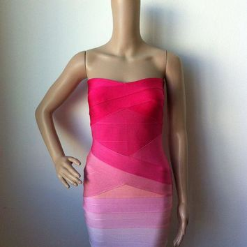 Spring Summer New Womens Celebrity Pink Ombre Strapless Bandage Dress