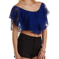 Cropped Lace Flutter Top by Charlotte Russe