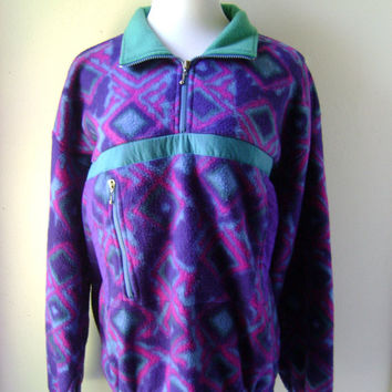 80s Aztec Print FLEECE Pullover Jacket Vintage Purple Green Southwestern Tribal Pattern Size L Large Hipster Coat 1980s Retro Outerwear Boho
