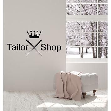 Vinyl Wall Decal Sewing Atelier Needle Crown Tailor Shop Clothing Stickers Mural (g801)