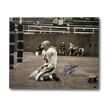 Y.A. TITTLE SIGNED 16X20 PHOTO NY GIANTS BLOODY COA LEAF AUTOGRAPH YA NYG