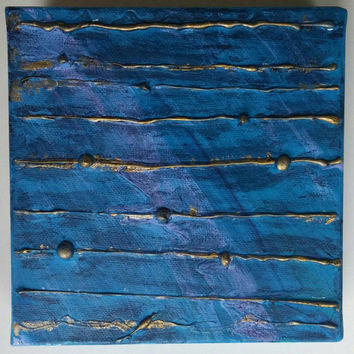 Abstract Art - Acrylic Abstract Painting on Canvas - Blue and Gold Painting - Textured Painting - Mixed Media Painting