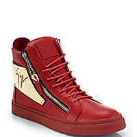 Giuseppe Zanotti - Signature Metal-Plated Leather High-Top Sneakers - Saks Fifth Avenue Mobile
