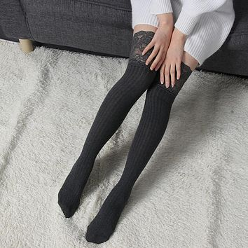 4 Colors Women Lady Warm Knitting Lace Cotton Over the Knee Thigh Stockings High Pantyhose Tights 1 Pair