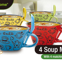 ceramic soup bowl with spoon se Case of 8