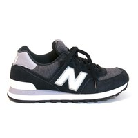 New Balance 574 Pennant - Black/white Suede Running Shoe