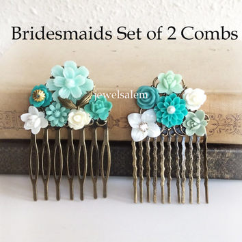 Turquoise Wedding Hair Comb Set for Bride and Bridesmaids Aqua Teal Mint Bridal Headpiece Floral Flowers Comb Something Blue Vintage Style