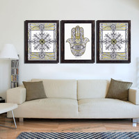 Hamsa Hand & Mandala PRINT - 3 Piece wall Art decor - Golden Silver Drawings - Large Print - Colored pencils art - Wall decoration