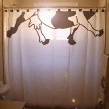 Cow Teats Shower Curtain Half A Cow Milking Farm Humor, unique funny bathroom curtains