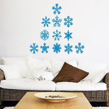Happy New Year Wall Decal Christmas Tree Decal Snowflakes Sticker Merry Christmas Vinyl Decals Living Room Decor Design Interior Murals KY94