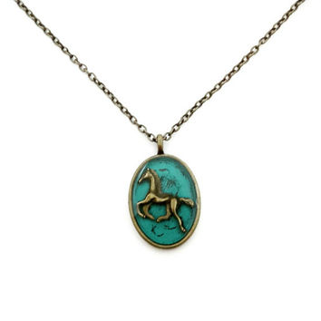 Horse necklace / meaningful horse jewelry / equestrian jewelry / teal and brass / handmade necklace / anniversary gift / teal jewelry