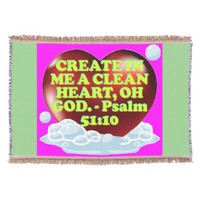 Bible verse from Psalm 51:10. Throw Blanket