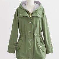 Army Green Hooded Jacket with Zipper