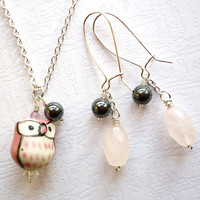 Owl Necklace, Charms, Soft Pink Baby Owl, Rose Quartz and Hematite Charms Jewelry Set, Gift for Sis, Cute Jewelry Free shipping to EU US CAN