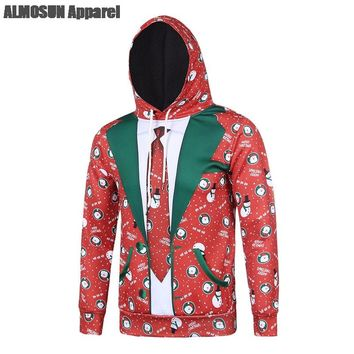 ALMOSUN Ugly Christmas Fake Pocket 3D All Over Printed Hoodie Sweatshirt Hip Hop Streetwear Jumper Hipster Men Boys