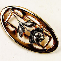 Oval Gold Tone Rose Motif Brooch Vintage