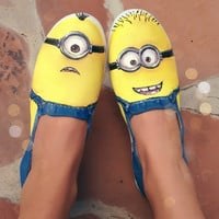 "Hand painted shoes -- Minions from the movie ""Despicable Me"""