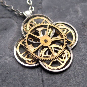 "Mechanical Flower Necklace ""Conundrum"" Elegant Recycled Steampunk Gear Pendant Mechanical Plant Pendant Petal Clover Luck Gift"