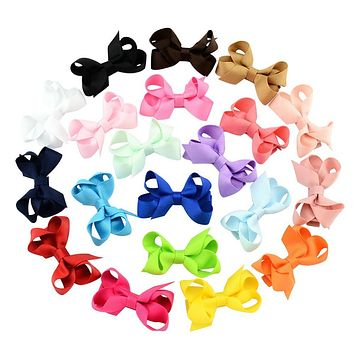 2.4 inches 20pcs/lot Solid Hair Bow Cute Cheer Bow  Ribbon Bow  Boutique Hairpins Barrettes Hair Accessory 645