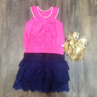 Kids Navy Lace Shorts