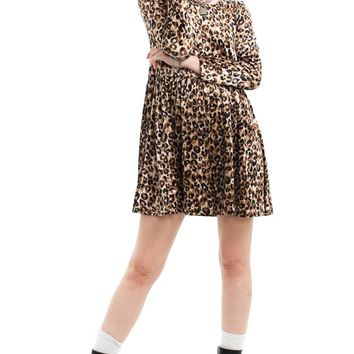 Vintage 90's Tough Cookie Cheetah Velvet Mini Dress - XS/S
