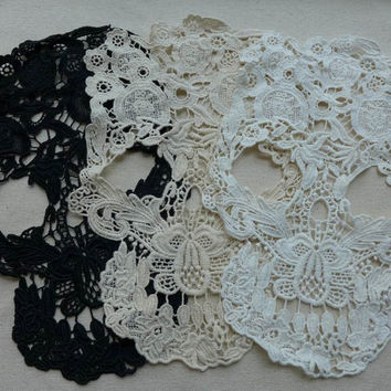Lace Applique, Skull Lace Appliques, Cotton Lace Trim, Large Skull Appliques, Costume design, 3 Pcs