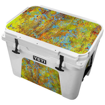 Blue and Lime Green Chipping Paint Skin for the Yeti Tundra Cooler