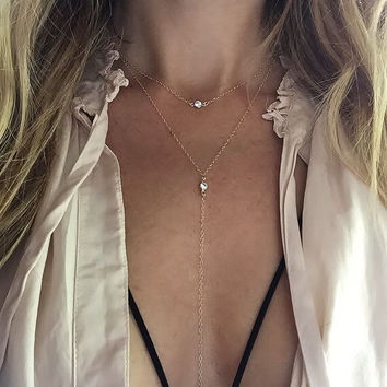 Casual Summer Style Gold Plated Chain 2 layer Necklace Casual Beads Long Strip Pendants Gifts Women Necklaces Jewelry