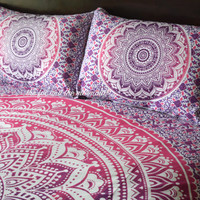 Mandala quilt cover and pillowcases,  Boho duvet cover, Roundie mandala doona cover, bohemian bedspread cover, boho bedding