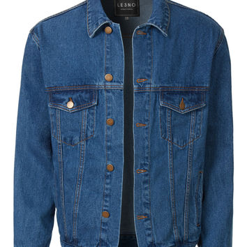 LE3NO Mens Casual Vintage Button Up Distressed Denim Trucker Jacket
