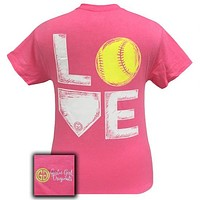 Girlie Girl Originals Preppy Love Softball Sports T-Shirt
