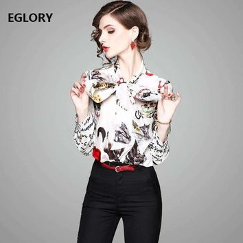 Letter Print Shirts New Casual Blouse 2018 Spring Summer Women Bow Tie Cute Cat Prints Long Sleeve 100%Silk Shirt Blouses