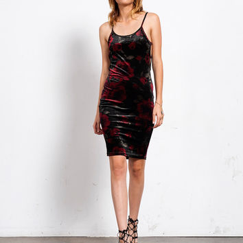 Countless Roses Velvet Dress