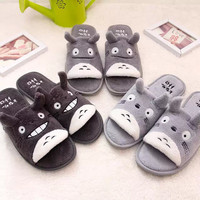 Totoro cartoon opening couple slippers cotton slippers plush home floor coral velvet slippers indoor skid