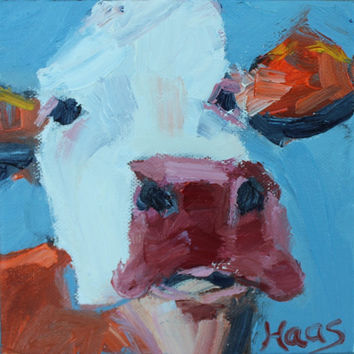ABSTRACT COW II - 6 x 6 - Original - Oil - Painting - Art - Farmhouse Chic - Home Decor - Canvas - Wall Hanging - Country - Farm Decor