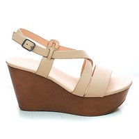 Becca09 Nude Pu By Bamboo, Criss Cross Cut Out Ankle strap Open Toe Platform Wedge Sandal