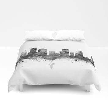 Houston Skyline Black and White Duvet Cover by monnprint