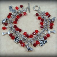 Charm Bracelet - Dog Charm Bracelet - Ready to Ship - In Red - Other Colors Available upon Request