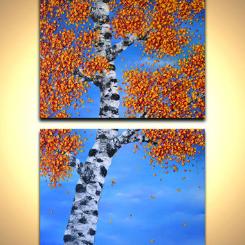 Original Birch Tree Painting, 48 x 30 set of two canvas wall art, original abstract art work for the home or office, gift