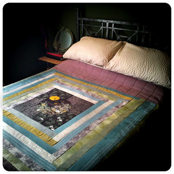 Moon Gazing Rabbit Patchwork Quilt - stunning modern dreamy Japanese panel in misty pastels of purple, blue, yellow, white, green and gold