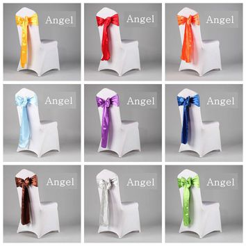 50pcs  Satin Sash Chair Sashes Bow Tie Wedding Decoration for wedding party event hotel Chair Ribbon