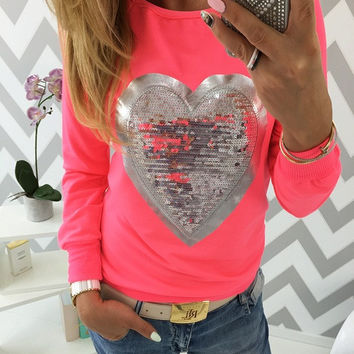 Womens Jumpers Suit Autumn 2016 Lovely Sequined Heart Pullovers Women O-neck Long Sleeve Sweatshirts Lady Tracksuits Tops S-XXXL