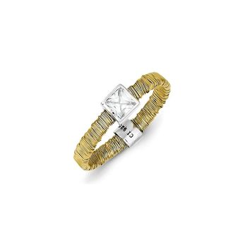 Sterling Silver & Vermeil Wire Wrapped CZ Ring