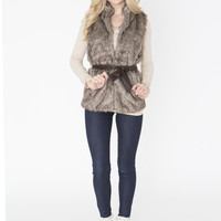 Faux Fur Vest with Belt