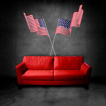 Full Color Wall Vinyl Sticker Decals Decor Art Bedroom Design Mural USA Flag Banner America (col535)